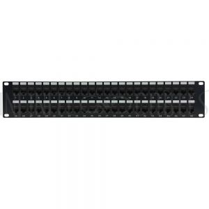 "PP-48C5-PT 48-Port CAT5e Patch Panel, 19"" Rackmount 2U - Pass-Through - Infinite Cables"