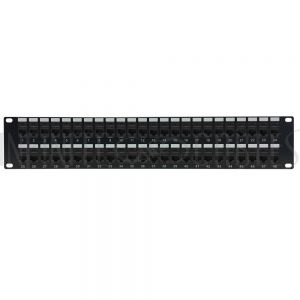 "PP-48C6-PT 48-Port CAT6 Patch Panel, 19"" Rackmount 2U - Pass-Through - Infinite Cables"