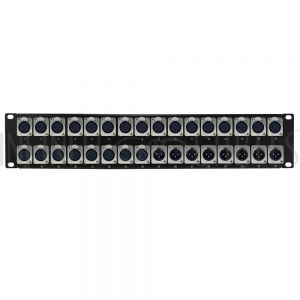 PP-XLR-24F8M 24-Port XLR Female + 8-port XLR Male patch panel, 19 inch rackmount 2U