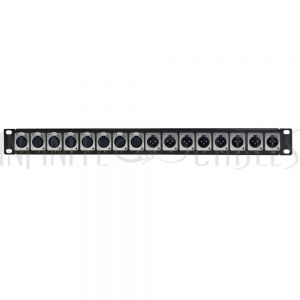 PP-XLR-8F8M 8-Port XLR Female + 8-port XLR Male patch panel, 19 inch rackmount 1U