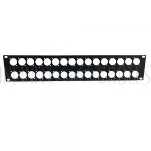 PP-XLR32-UL 32-port D-cut patch panel, 19 inch rackmount 2U - unloaded