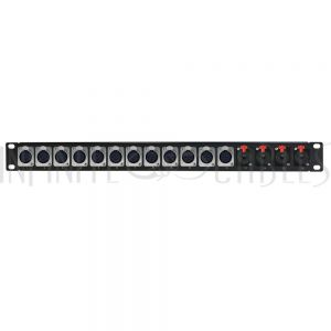 PP-XLRF12-TRS4 12-Port XLR Female + 4-port TRS Female patch panel, 19 inch rackmount 1U - Infinite Cables