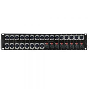 PP-XLRF24-TRS8 24-Port XLR Female + 8-Port TRS Female patch panel, 19 inch rackmount 2U - Infinite Cables