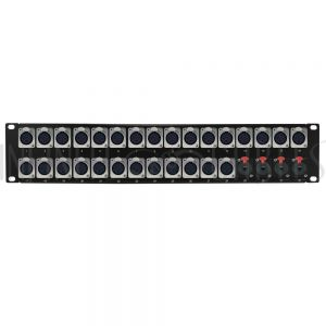 PP-XLRF28-TRS4 28-Port XLR Female + 4-Port TRS Female patch panel, 19 inch rackmount 2U - Infinite Cables