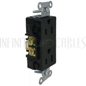 PW-PR1D-BK Hubbell Power Receptacle Duplex (15A 125V) Decora - DR15BLK Black - Infinite Cables