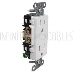 PW-PR1D-WH Hubbell Power Receptacle Duplex (15A 125V) Decora - DR15WHI White - Infinite Cables