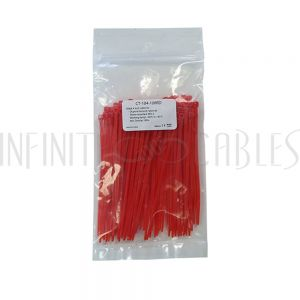 CT-104-100RD 100pk 4 inch cable tie (18lb) - UL94 V-2 nylon 66 - Red