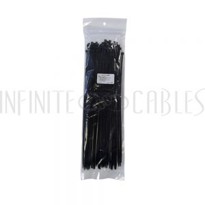 CT-212-100BK 100pk 12 inch cable tie (40lb) - UV & weather resistant nylon 66 - Black - Infinite Cables