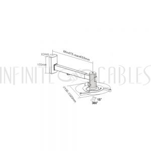 MT-820-BK Tilt & Rotate Projector Wall Mount Bracket (480-660mm) - Infinite Cables