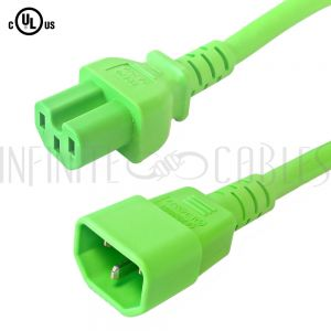 C14 to C15 14AWG Power Cords - Green