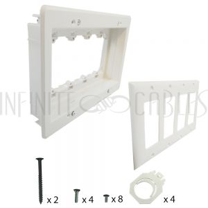 WP-CLIP4-R Recessed Drywall Clip - Plastic, Four Gang, Pre/Post Construction - Infinite Cables