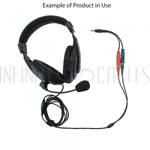 AUD-900-6IN 6 inch 3.5mm 4C Male to 2x 3.5mm Female (headphones/mic) Adapter - Infinite Cables