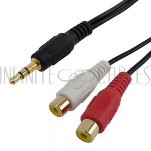 AUD-920-6IN 3.5mm Stereo Male to 2 x RCA Female Audio Cable - Infinite Cables