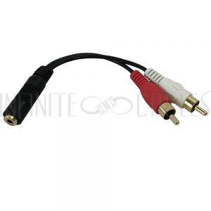 AUD-921-6IN  6 inch Molded 3.5mm Female to 2 x RCA Male Audio Cable