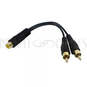 AUD-932-6IN 6 inch RCA Female to 2 x RCA Male Y - Splitter Audio Cable - Infinite Cables