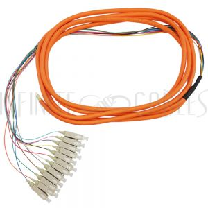 FO-PT504-10J-12F 3m SC/PC 12-fiber Multimode 62.5µ OM1 Jacketed Pigtail, 19inch 900um fan-out, OFNR - Infinite Cables