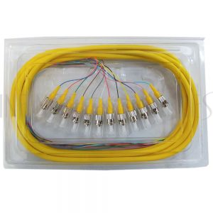 FO-PT600-10J-12F 3m ST/UPC 12-fiber Singlemode 9µ Jacketed Pigtail, 19inch 900um fan-out, OFNR - Infinite Cables