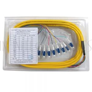 FO-PT608-10J-12F 3m LC/UPC 12-fiber Singlemode 9µ Jacketed Pigtail, 19inch 900um fan-out, OFNR - Infinite Cables