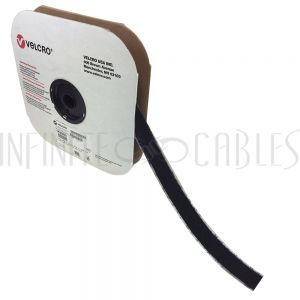 VL-AD100L-75BK 75ft 1 inch Velcro® Brand Loop 1000 Adhesive Back Wrap - Black (per roll) - Part No. 158509 - Infinite Cables