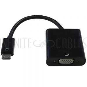 AD-HDMIC-VGA 6 inch Mini-HDMI Male to VGA Female + 3.5mm Female Adapter - Black - Digital Camera/Camcorder to VGA Display