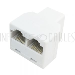 CN-RJ45-TEE3 RJ45 Tee Adapter (3x RJ45 Female) - White - Infinite Cables