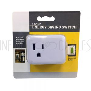 PB-001-WH 1 Outlet Energy Saver Tap with On/Off Switch - Infinite Cables