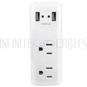 PB-022-WH 2 Outlet Power Tap w/ 2 USB Charging Ports - White - Infinite Cables