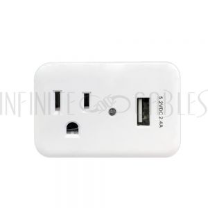 PB-131-WH 1 Outlet Power Tap - 150J Surge protection, 1 Fast Charge USB Port - White - Infinite Cables