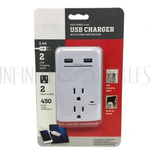 PB-132-WH 2 Outlet Power Tap - 450J Surge protection, 2 Fast Charge USB Port - White - Infinite Cables