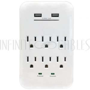 PB-138-WH 6 Outlet Power Tap - 1200J Surge protection, 2 Fast Charge USB Port - White - Infinite Cables