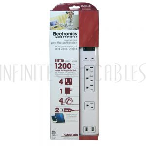 PB-501-WH 4 Outlet Surge Protector - 1200J, 4ft Cord, Down Angle Plug, 2 USB Charging Ports - White