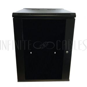 "RM-500-15U Wall Mount Cabinet 15U x 19.5"" Usable Depth, Glass Door, Fans - Black - Infinite Cables"