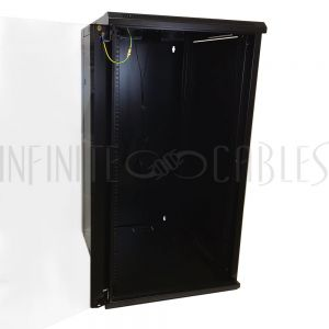 "RM-510-22U Wall Mount Cabinet 22U x 23"" Usable Depth, Glass Door, Fans - Black"