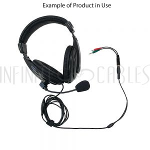 AUD-901-6IN 6 inch 3.5mm 4C Female to 2x 3.5mm Male (headphones/mic) Adapter - Infinite Cables