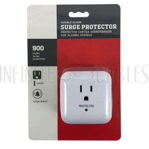 PB-101-WH 1 Outlet Power Tap - 900J Surge Protection - White - Infinite Cables