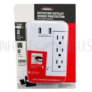 PB-139-WH 6 Outlet Swivel Power Tap - 1200J Surge Protection, 2 Fast Charge USB Ports - White - Infinite Cables