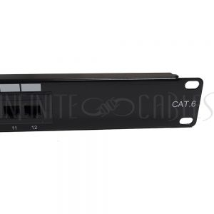"PP-12C6-110 12-Port CAT6 Patch Panel, 19"" Rackmount 1U -  110 Punch-Down"