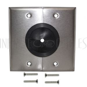 Cable Pass-through Wall Plate, Double Gang - Stainless Steel - Split