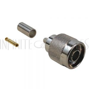 CN-02-195 N-Type Reverse Polarity Male Crimp Connector for RG58 (LMR-195) 50 Ohm - Infinite Cables