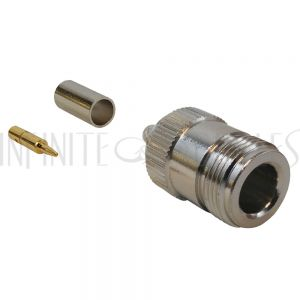 CN-03-195 N-Type Reverse Polarity Female Crimp Connector for RG58 (LMR-195) 50 Ohm - Infinite Cables