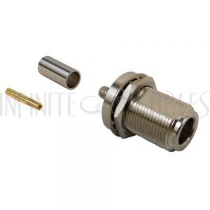 CN-06-195 N-Type Female Bulkhead Crimp Connector for RG58 (LMR-195) 50 Ohm - Infinite Cables