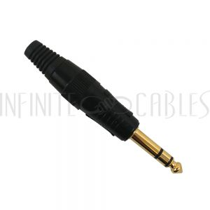 CN-STRSM-BK TRS (1/4 Inch) Stereo Male Solder Connector  - Black - Infinite Cables