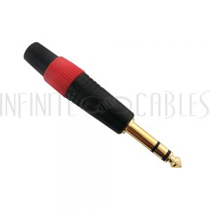 TRS Stereo Male Solder Connector Black finish, Red Ring, Gold Plated