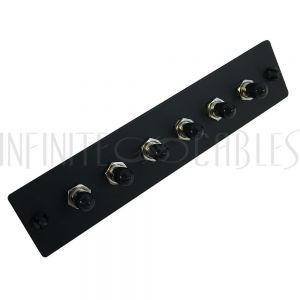 PP-FA200-6BK Loaded Adapter Panel with 6x Simplex ST/UPC SM/MM - Black - Infinite Cables