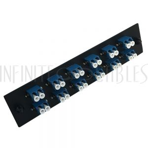 PP-FA208-12BK Loaded Adapter Panel with 12x Duplex LC/UPC Singlemode - Black - Infinite Cables