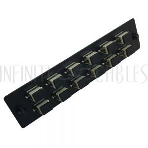 PP-FA504-12BK Loaded Adapter Panel with 12x Simplex SC/PC Multimode - Black - Infinite Cables