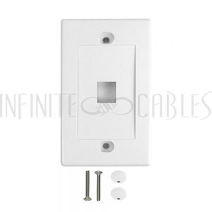 WP-1P-WH Wall Plate, 1-Port Keystone - White - Infinite Cables