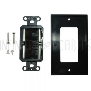 WP-DPB-BK Cable Pass-through Wall Plate, Brush Style, Single Gang Decora - Black