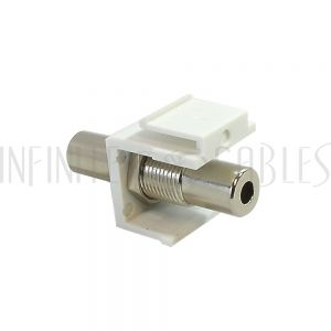 WP-IN-35MM 3.5mm Female to Female Stereo Keystone Wall Plate Insert - White - Infinite Cables
