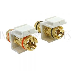 WP-IN-BAN Banana Clip Female/Female Keystone wall plate Insert (Pair, Black/Red), Gold Plated - White - Infinite Cables